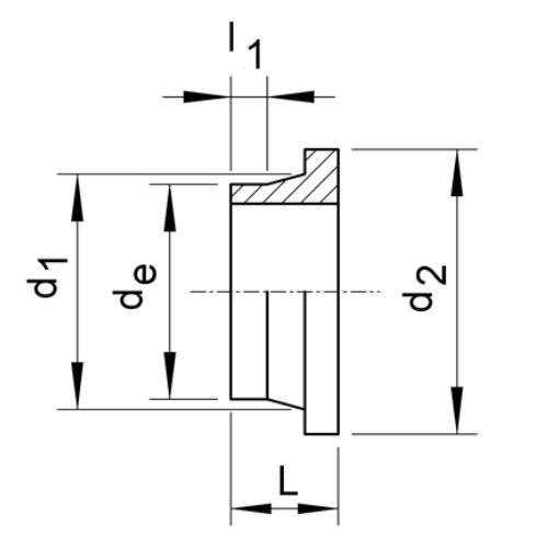 PP Short spigot stub for butt welding for backing rings ISO/DIN