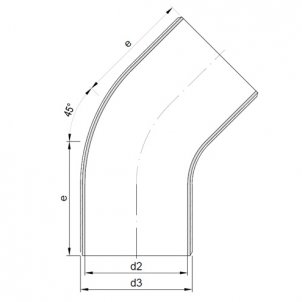 FRP-PVDF Elbow 45° DIN 16 966, form E2, pipe type B, Liner PVDF