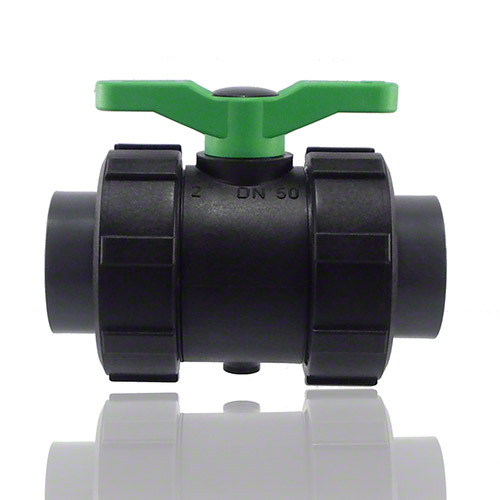 2-ways ball valve PPGF, PVC-U metric sockets, FPM = green handle