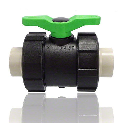 2-ways ball valve PPGF, PP-H metric sockets, FPM = green handle