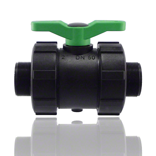 2-ways ball valve PPGF, male thread, FPM = green handle