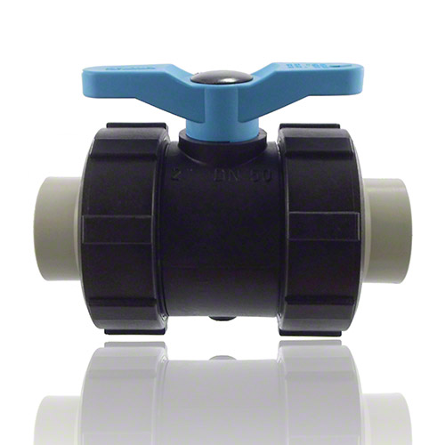 2-ways ball valve PPGF, PP-metric sockes, FEP/FFPM = blue handle