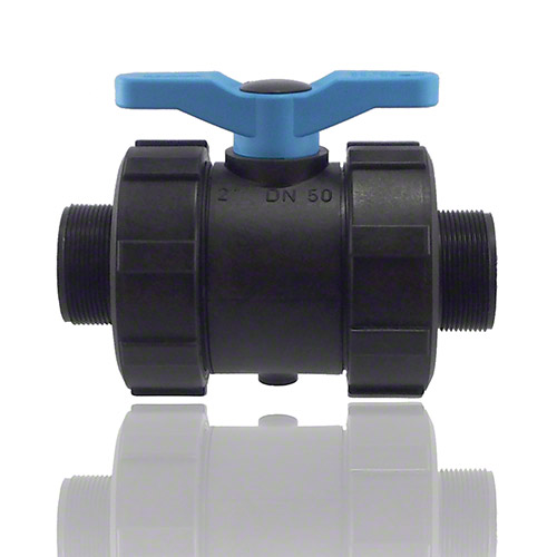 2-ways ball valve PPGF, male thread, FEP/FFPM = blue handle