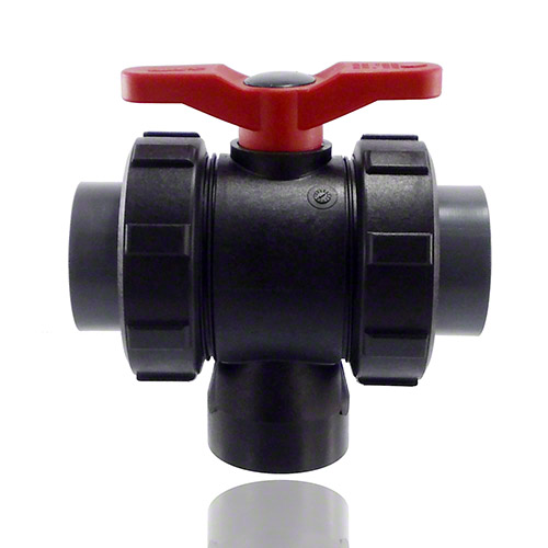 3-ways ball valve PPGF, PVC-U-gluing sleeves, EPDM = red handle