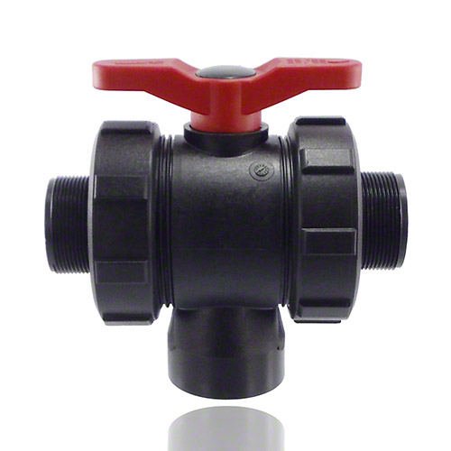3-ways ball valve PPGF, male thread , EPDM = red handle