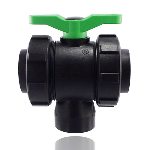 3-ways ball valve PPGF, female thread, FPM = green handle