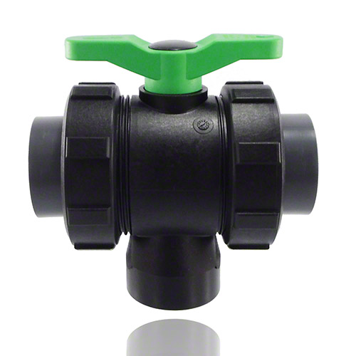 3-ways ball valve PPGF, PVC-U-gluing sleeves, FPM = green handle