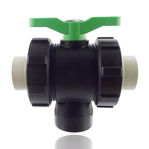 3-ways ball valve PPGF, PP-sleeves, FPM  = green handle