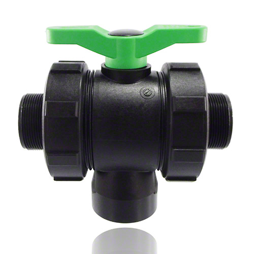3-ways ball valve PPGF, male thread, FPM  = green handle