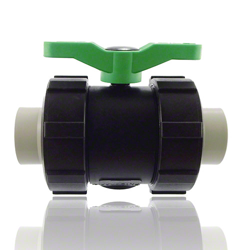2-ways ball valve PPGF, PP-H metric sockets, FEP/FFPM = blue handle