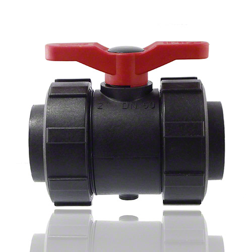2-ways ball valve PPGF, female thread, EPDM   = red handle