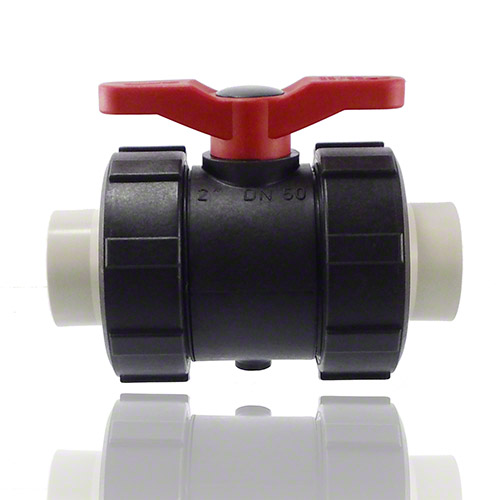 2-ways ball valve PPGF, PP-H metric sockets, EPDM = red handle