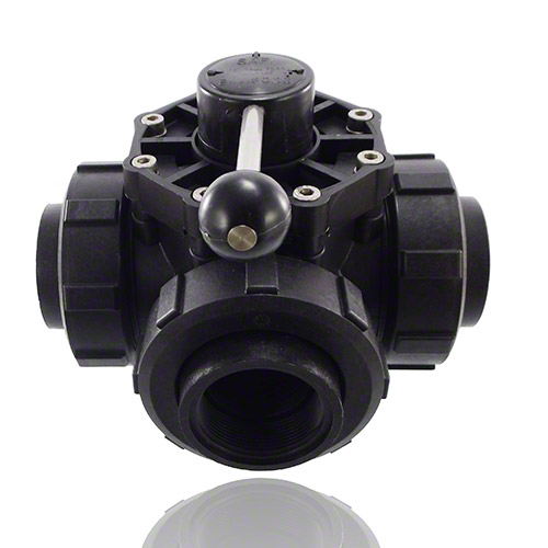 4-ways ball valve PPGF DN 50, R-female thread, L-bore,  EPDM