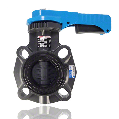 PVC-U Butterfly valve, Hand operated, FPM