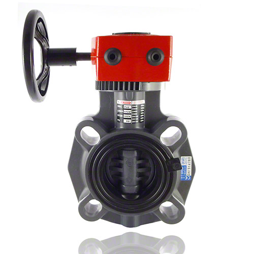 PVC-U Butterfly valve with gear box, EPDM