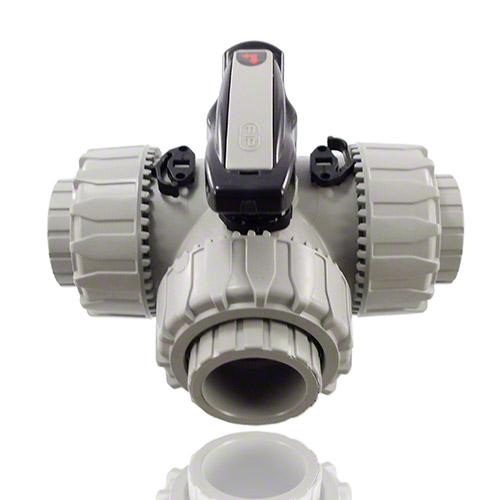 PVC-C 3-Way Ball Valve, female ends for solvent welding, L-port Ball, EPDM