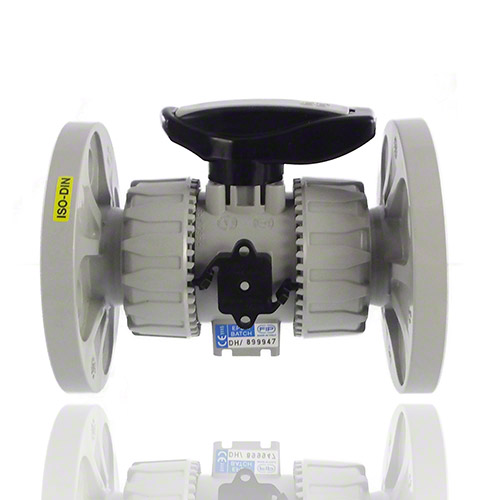 PVC-C 2-Way Ball Valve with EN/ISO/DIN PN 10/16 fixed flanges, EPDM