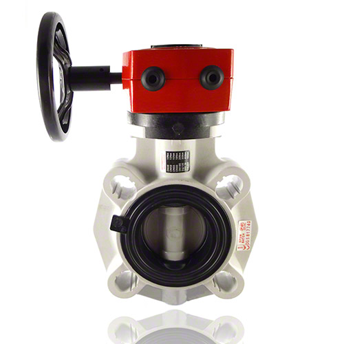 PVC-C Butterfly Valve FK, with gear box, EPDM