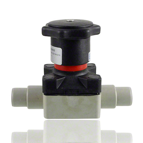 PP Compact diaphragm valve with male ends for socket welding, metric series, EPDM