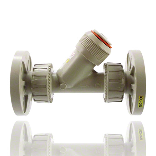 PP Check valve with union ends and fixed flanges, drilled EN/ISO/DIN PN10/16, EPDM