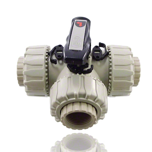 PP  3-Way Ball Valve with BSP threaded female ends, L-port ball, EPDM