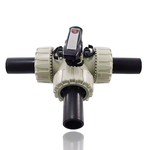 PP 3-Way Ball Valve with Long spigot PE100 SDR 11 end connectors for joints with electrofusion fittings or for butt weldings, L-port ball, EPDM