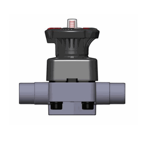 PP Diaphragm Valve with stroke limiter and male ends for socket welding, metric series, EPDM