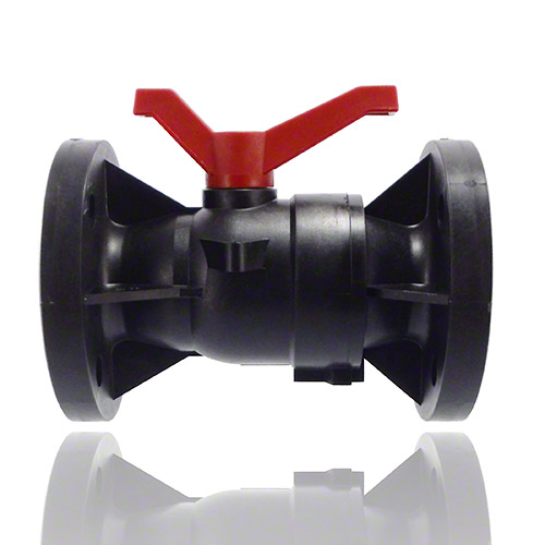 2-ways flanged ball valve PPGF, EPDM = red handle