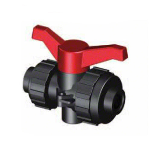 3-ways ball valve PPGF,  female thread , EPDM = red handle