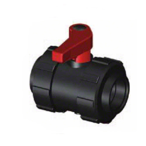 2-ways ball valve PPGF, security lock, <br> female thread, EPDM= red handle