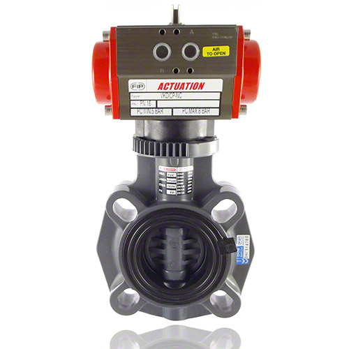 Pneumatically actuated, PVC-U Butterfly Valve