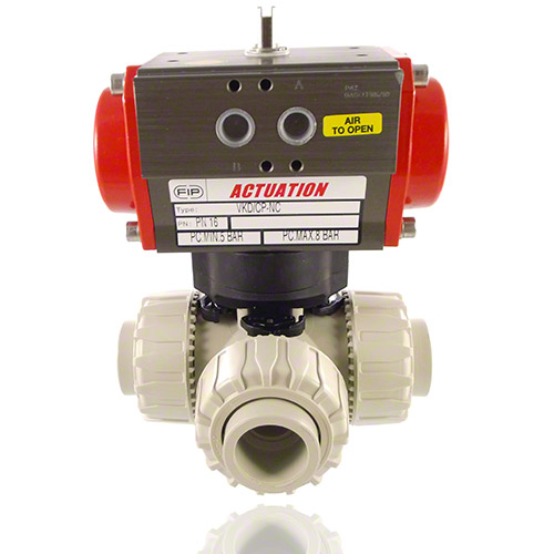 Pneumatically actuated  3-Way Ball Valve / L-bore ball