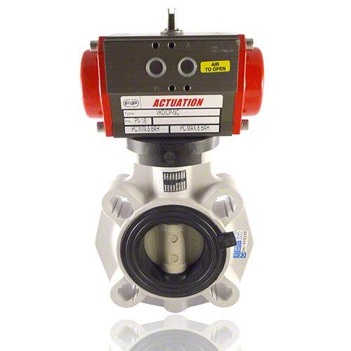 Pneumatically actuated, PP Butterfly Valve