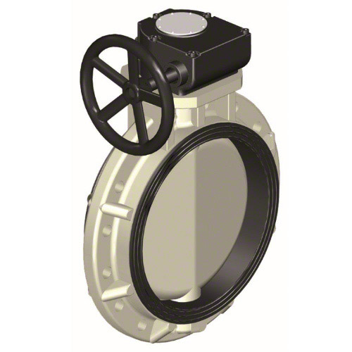butterfly valve PP-H, intermediate flanges following DIN; EPDM