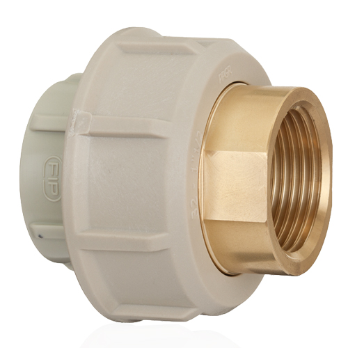 PP Adaptor union in PP-H/brass for socket welding, BSP threaded brass female end with O-Ring in EPDM