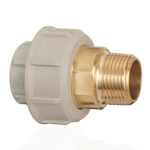 PP Adaptor union in PP-H/brass for socket welding, BSP threaded brass male end with O-Ring in EPDM